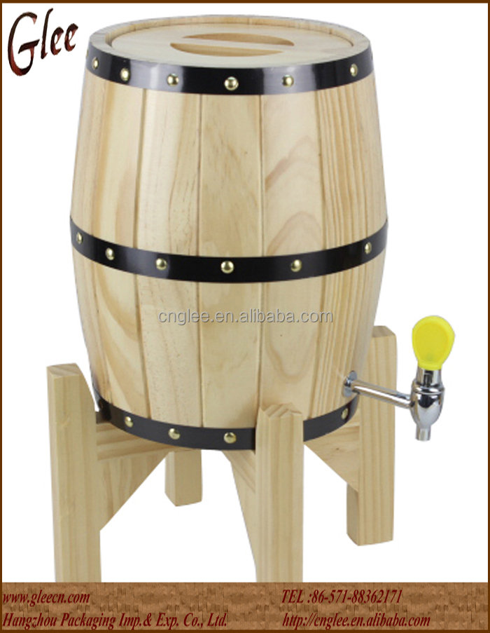 Hot sale wooden barrel shape ice bucket with stainless steel