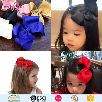 Wholesale cheap 4.5.6 inch grosgrain ribbon bow hair clips for kids