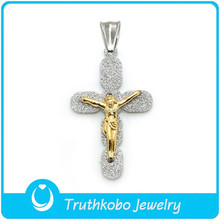L-P0081 Wholesale Metal Sanded Jewelry Christianity Matte Cross Religious Pendant Two-Tone Silver Pendant