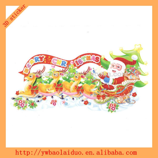 2014 hot sale 3D glass christmas decoration Sticker