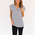 V neck cap sleeve striped latest new design fashion top