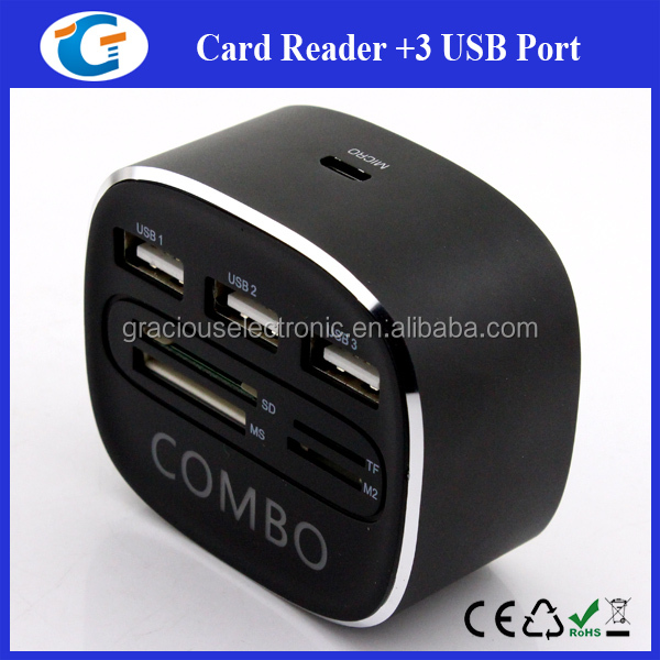 Aluminum Case USB 2.0 Hub With Card Reader