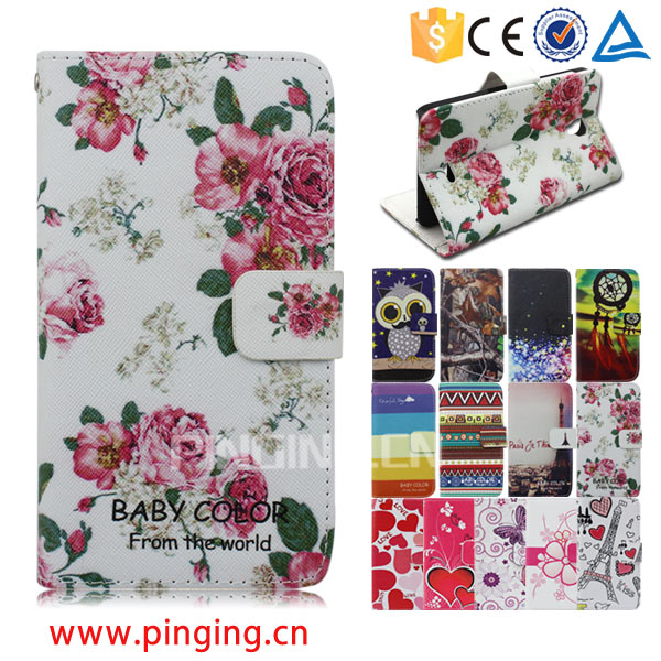 Color printing leather with card slots mobile phone accessory for Micromax Bolt Q381