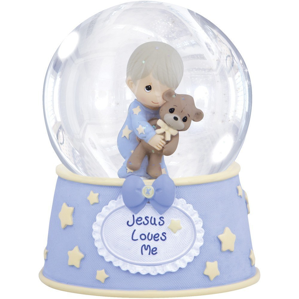 wholesale customized resin water/snow globe with cartoon kid and blowing snow inside