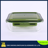Rectangular high quality glass food storage container/glass storage box with Plastic lid