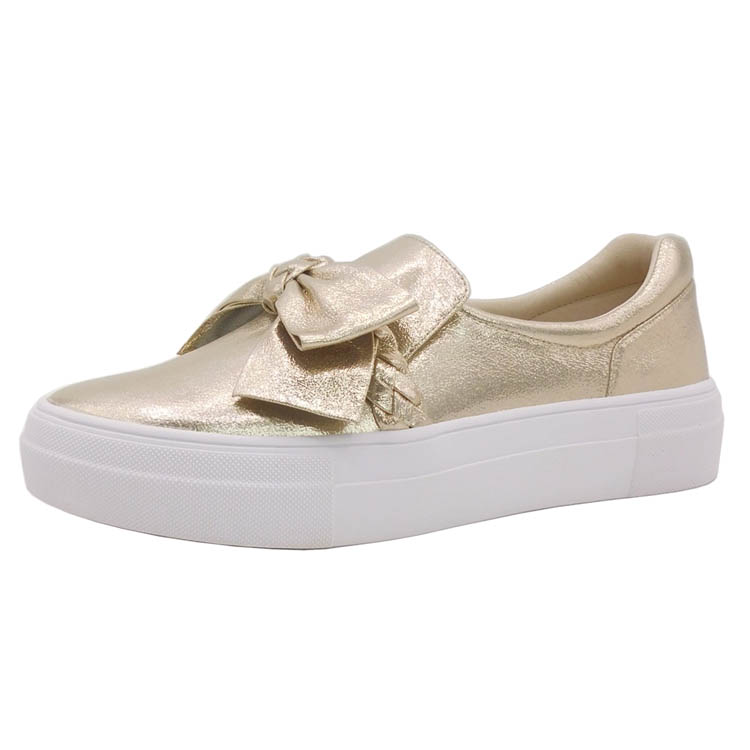 Custom Design Free sample EUR PU Slip on Rubber Flat Gold Women casual <strong>shoes</strong> for lady