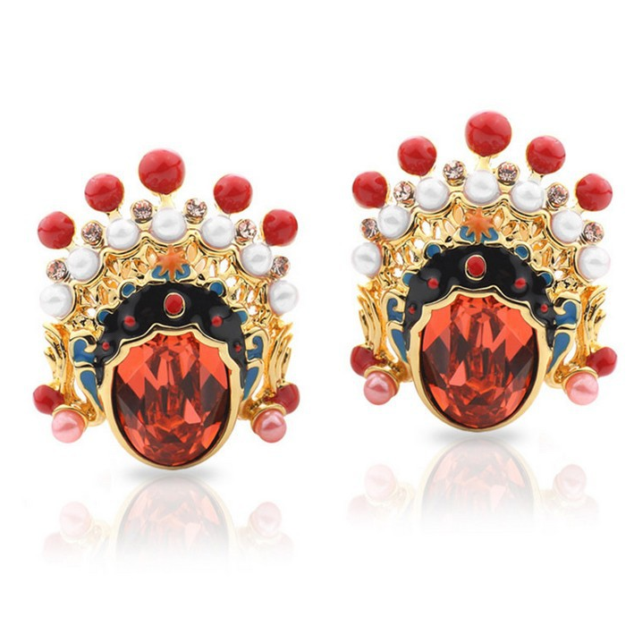 Big red crystal Beijing Opera mask style gold plated stud earrings 2016 new <strong>fashion</strong>