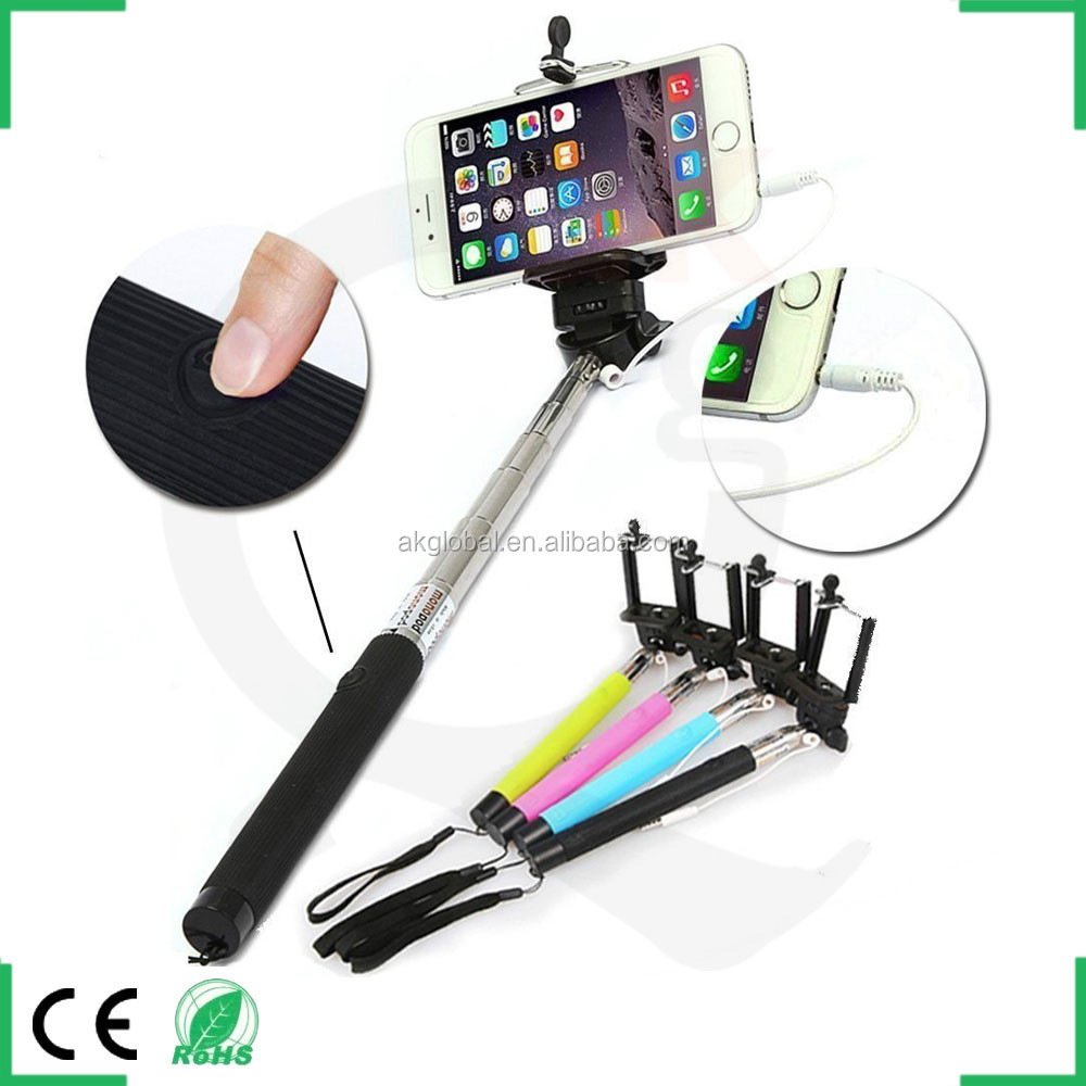 2015 innovative gadgets camera monopod selfie stick with 3.5mm audio cable shutter and holder for samsung s4 s5 s6 htc one m7 m8