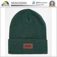 Acrylic custom leather patch winter beanies hat,acrylic beanie