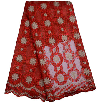 Red African French Lace Fabric With Rhinestones Lovely Embroidery Tulle Net Lace Nigerian Wedding Fabric Dress With Stones 858