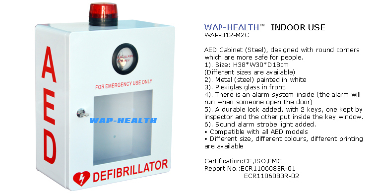Trade Assurance WAP-health factory direct sale logo customized aed cabinet with strobe light