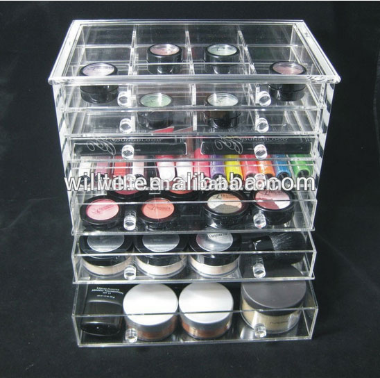 cheap clear 6 drawer acrylic makeup organizer with drawers clear box cosmetic cases