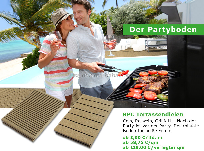 BBQ WPC floor, oil stain resistant, composite deck boards/wpc floor/wood plastic composite decking surround swimming pool,