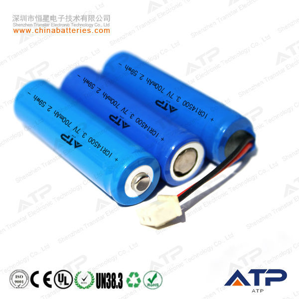 Alibaba Website Supplying Portable DVD Player Battery / 3.7v ICR 14500 Li-ion Rechargeable Battery