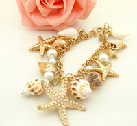 2016 New Ocean Style Multi Starfish Sea Star Conch Shell Pearl Chain Beach Bracelet Bangle Novelty Hot Selling