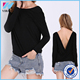 Dongguan Yihao 2015 Summer Ladies Tops Fashion New Band European Designs Black Long Sleeve Cross Backless Sexy Blouses For Women