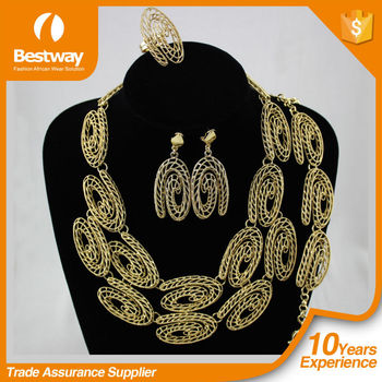 High Quality New Design Real Gold Plating African big jewelry set EF0074-1