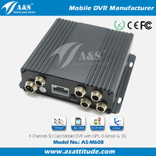 Motion Detect SD Card Mobile Car DVR 4 Channel