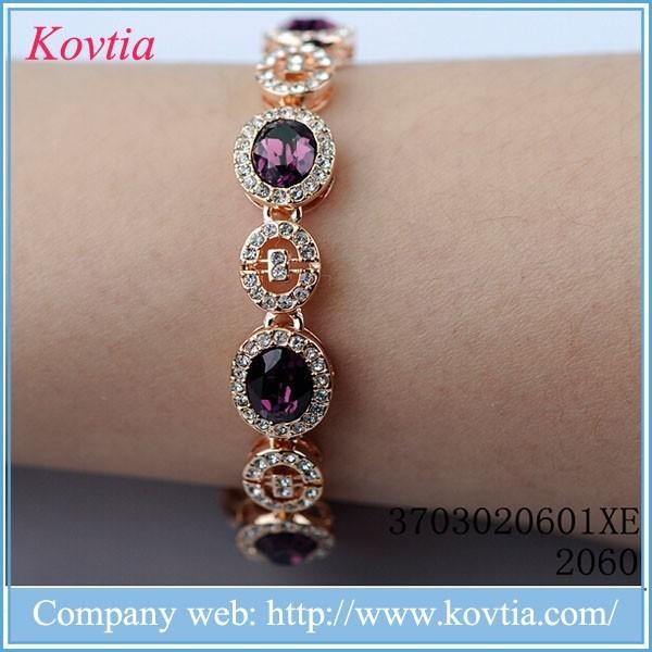2015 fashion bijouterie 18k italian gold jewelry purple amerhyst gemstone bracelets