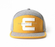 Custom Blank grey 5 Panel Cap With Woven Label Patch High Quality 5 Panel Flat Brim Snapback wool 5 Panel <strong>Hat</strong>