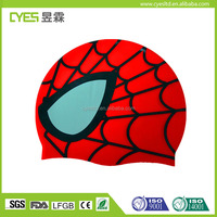 Cool Spiderman shaped sports round silicone swimming caps swim caps silicone with cheap price