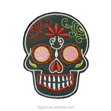 High quality hot sale skull embroidery patches/ patch applique cheap price