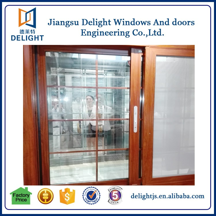Aluminum alloy framed oak and pine wooden window