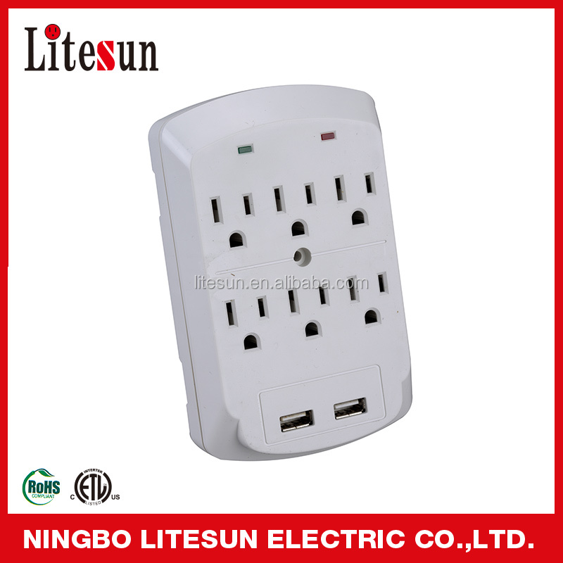 UL ETL LITESUN 6 outlets surge protected current tap with 2 USB ports Wall tap Adapter Wall socket LA-102S-1