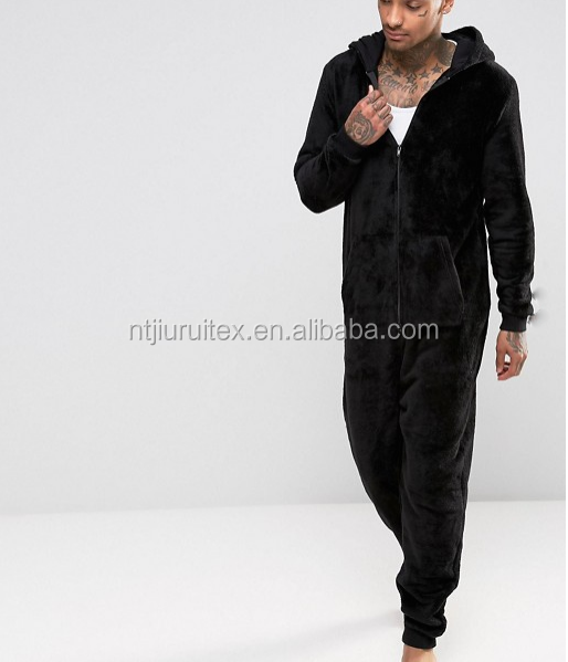 Men's Black Coral Fleece Hooded Onesie