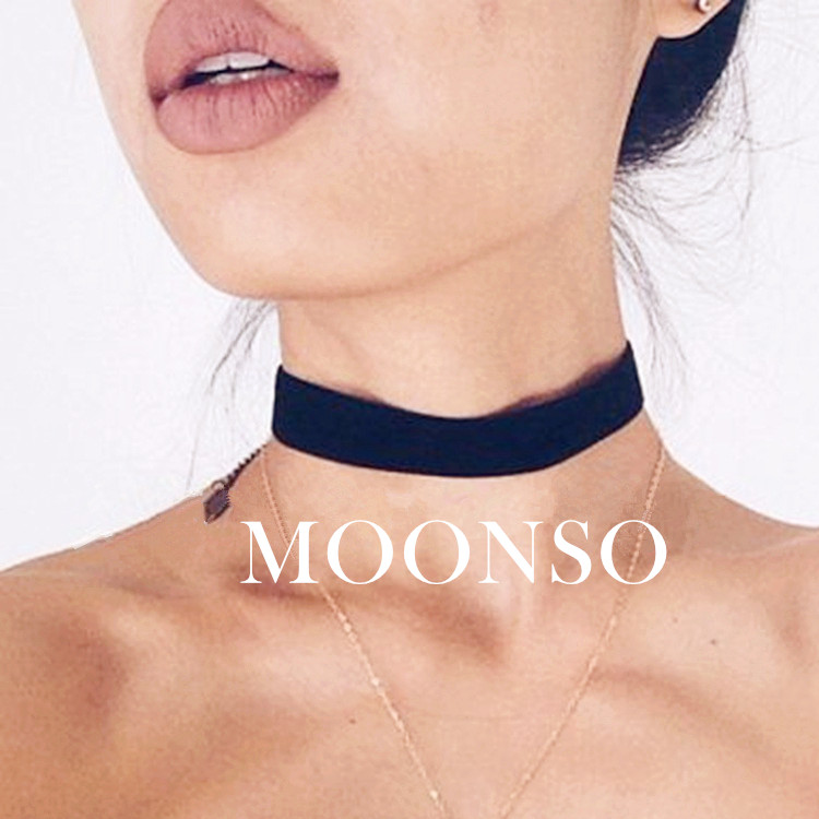 Moonso Wholesale Black Velvet Choker <strong>Necklace</strong> AX3346