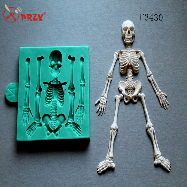 F3430 Skeleton HALLOWEEN 3d silicone molds fondant cake mold