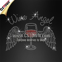 Wine Angel Glass with Wings Custom Iron on Rhinestone Transfers Wholesale