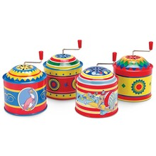 Fancy Metal Hand Rotating Gift Music Tin Box for Kids