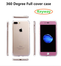 High Quality Ultra Thin Full Body Coverage Protective Hard Slim Phone 360 degree Case cover tempered glass for iphone 7 6