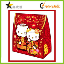 2015 New sense cheap Custom red wedding favor box with kitty pattern