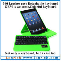 LBK137 Deluxe 360 Degree Rotating Leather Case Cover Bluetooth Keyboard for iPad Mini