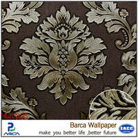 Barca 4208 series heavy embossed PVC wallpaper home decor/wall papers damask