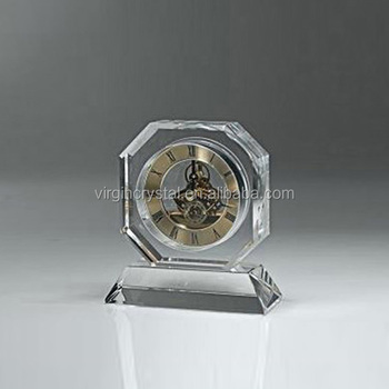 Popular crystal table stand clock for personalized design as gift item
