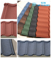 Spanish Style Stone Coated Metal Roof Tiles / Cheap Roofing Material