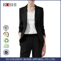 2016 Stylish Fancy Black Coat Pant Ladies 2 Piece Suit