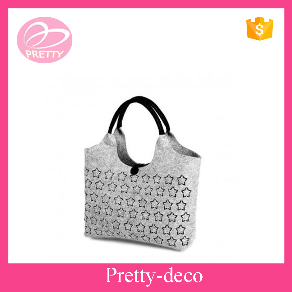 New best selling laser cut felt unique shape bags with handle