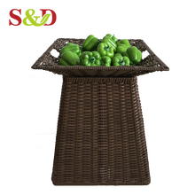 High quality supermarket plastic rattan vegetable and fruit heavy duty racks