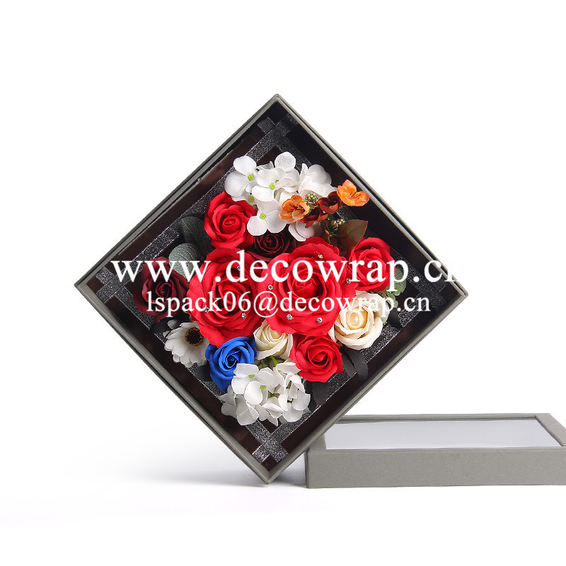 Square cardboard clear flower PVC packaging box