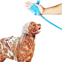 Amazon Best Sellers The 2 IN 1 System Pet Dog Shower Sprayer with Soft Rubber Brushes
