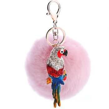 PO000192 WT Yiwu customized bird key chain wholesale super cute fox pom balls rabbit fur ball