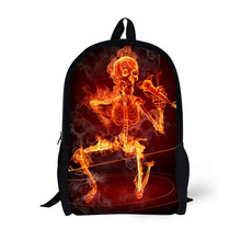 Cool burning skull printed 3D Printed adult school backpack light weight bags