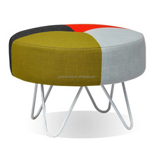 Colorful round wire metal with PU leather/wool/linen fabric relaxing stool