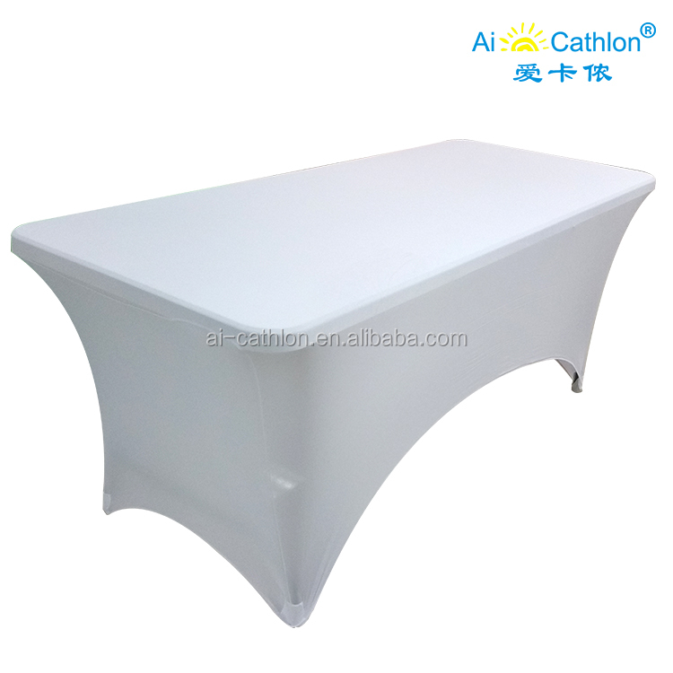 Wholesale Customized 90%polyester 10%spandex white Table Cover with custom logo