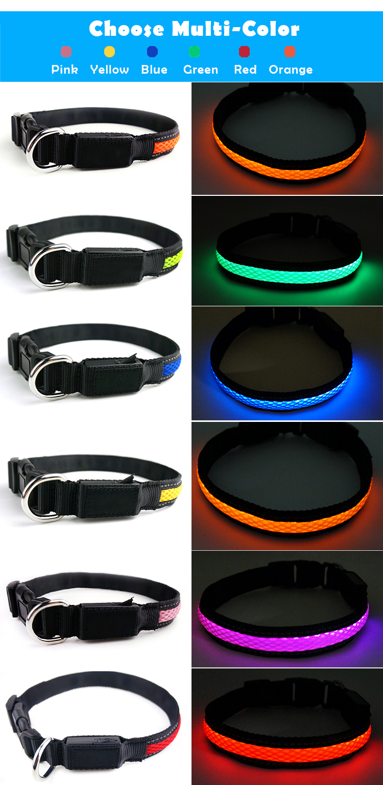 2017 Best Price Wholesale Private Label Designer USB Rechargeable Glowing Pet Dog Collar