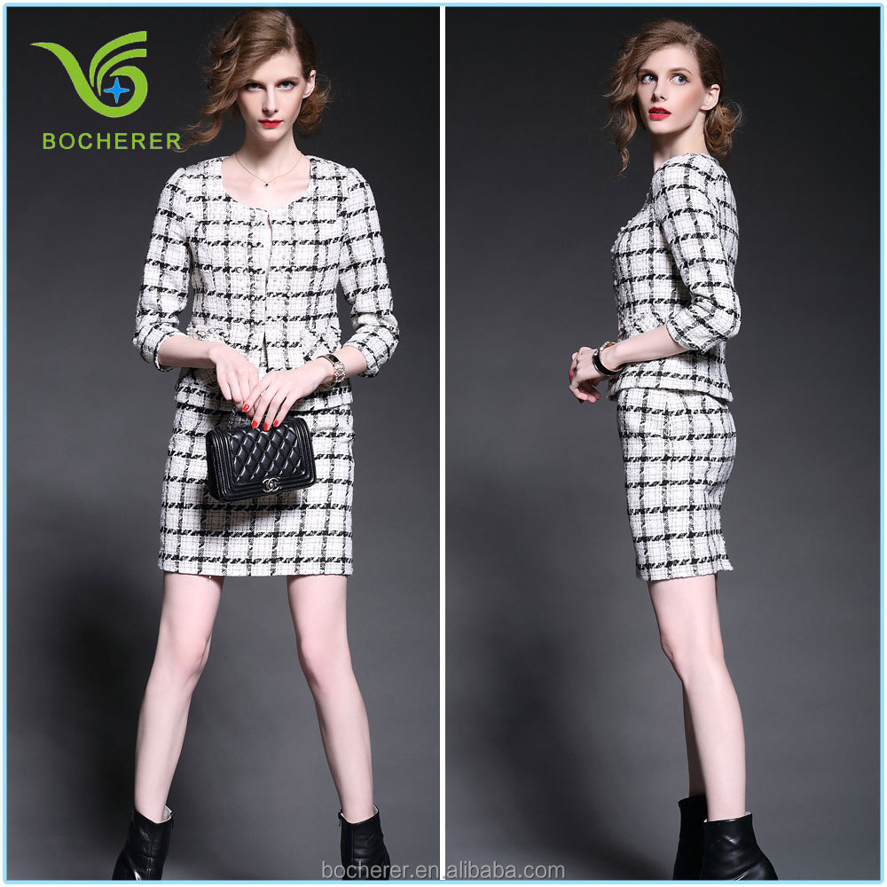 Classical black and white women winter suits with short skirt